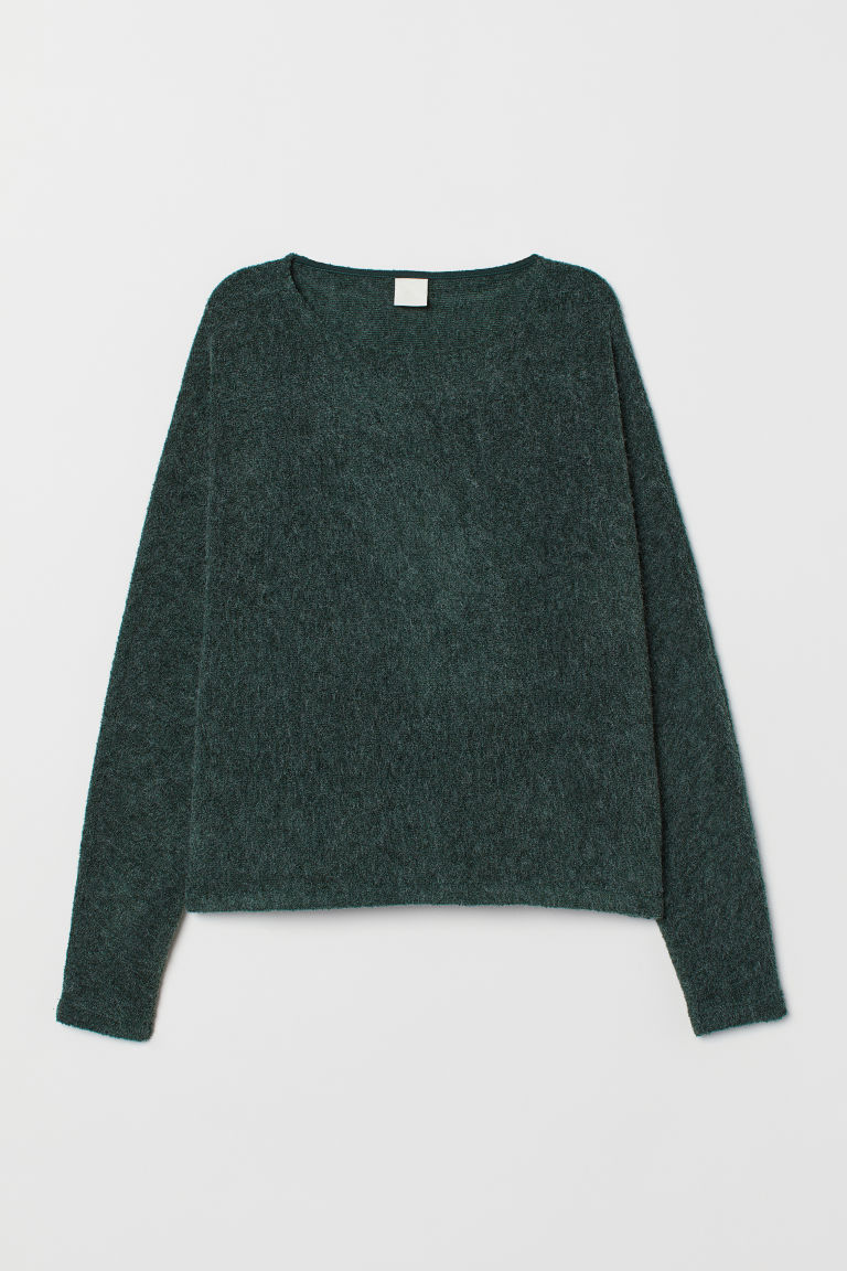 Top with dolman sleeves - Dark green marl - Ladies | H&M GB