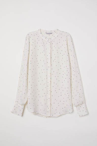 Long-sleeved blouse - Cream/Hearts - Ladies | H&M