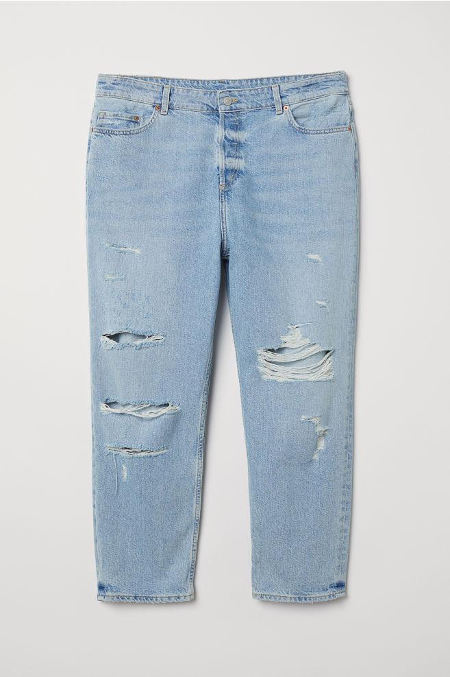 0d398bd5 H&M+ Boyfriend Jeans - Lys denimblå/Trashed - DAME | H&M ...