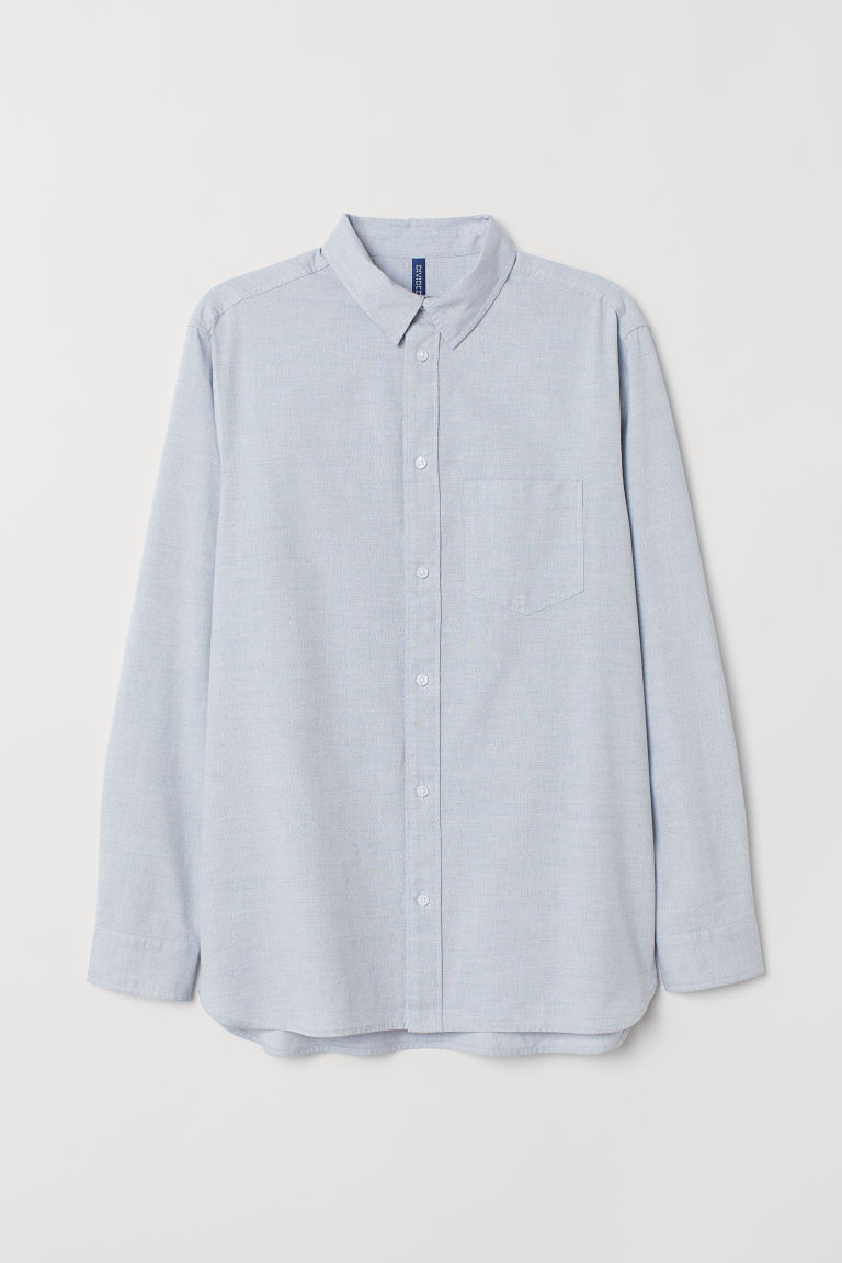 Cotton shirt - Light blue marl - Men | H&M CN