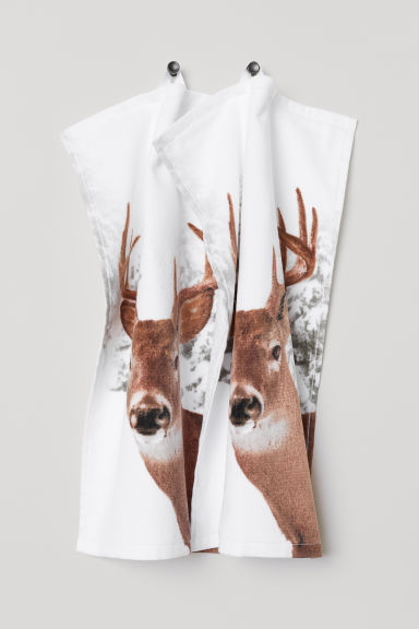 2-pack guest towels - White/Deer - Home All | H&M CN