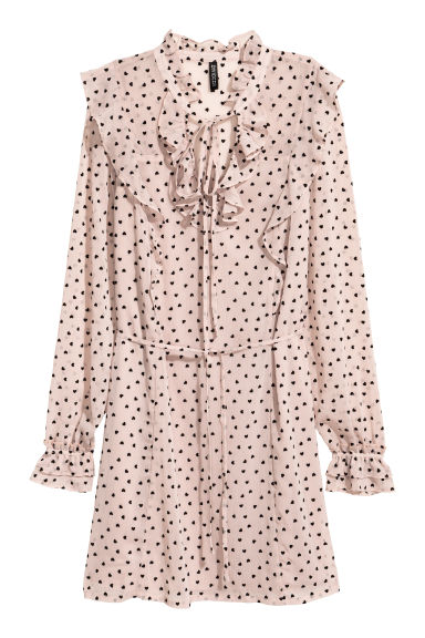 Crinkled chiffon dress - Powder pink/Hearts - Ladies | H&M CN