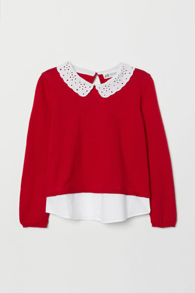 Fine-knit jumper with a collar - Red -  | H&M