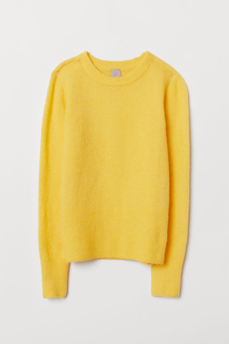 Knitted wool-blend jumper - Yellow - Ladies | H&M CN