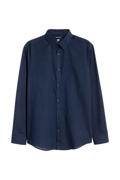 Easy-iron shirt Slim fit - Dark blue/Chambray - Men | H&M
