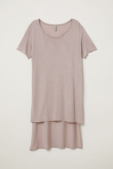 T-shirt lunga in misto lino - Viola erica - DONNA | H&M IT