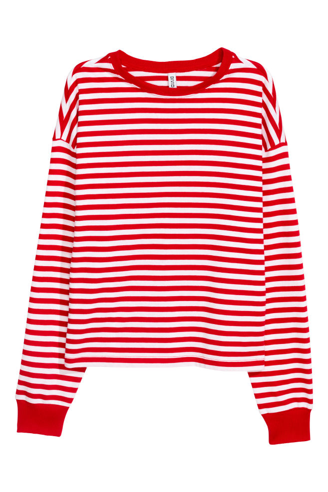 f4402ea50b6 Striped jersey top - Red White striped - Ladies
