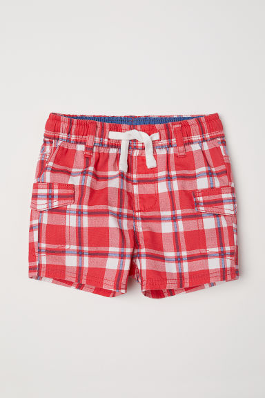 Cotton cargo shorts - Red/Checked -  | H&M
