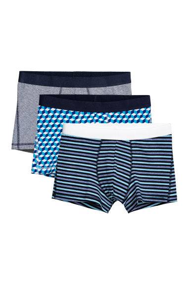 3-pack trunks - Dark blue/Multicoloured - Men | H&M