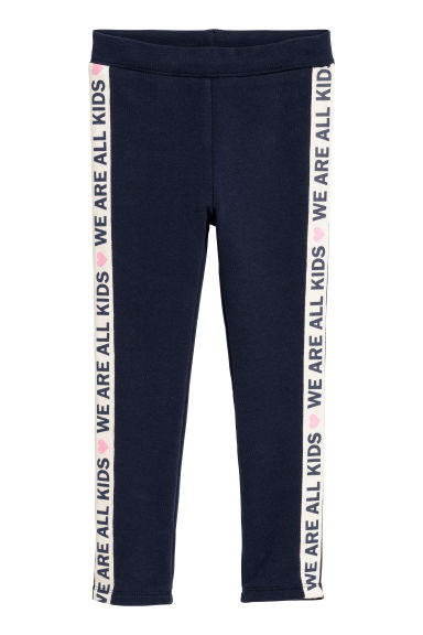 Leggings with side stripes - Dark blue -  | H&M