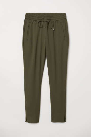 Pull-on trousers - Dark khaki green - Ladies | H&M CN
