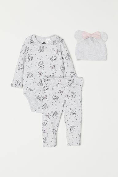 3-piece jersey set - Grey marl/Minnie Mouse - Kids | H&M