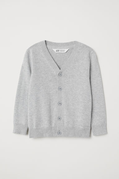 Fine-knit cardigan - Light grey - Kids | H&M