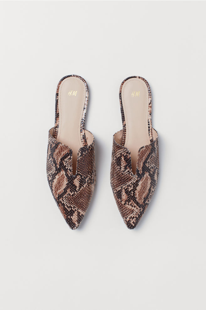 857ad76e0 Pointed Mules - Dark beige/snakeskin-patterned - Ladies | H&M ...