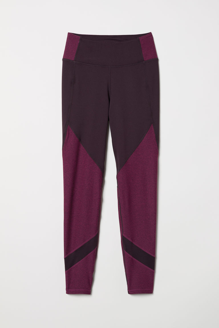 Sports tights - Plum/Block-coloured - Ladies | H&M CN