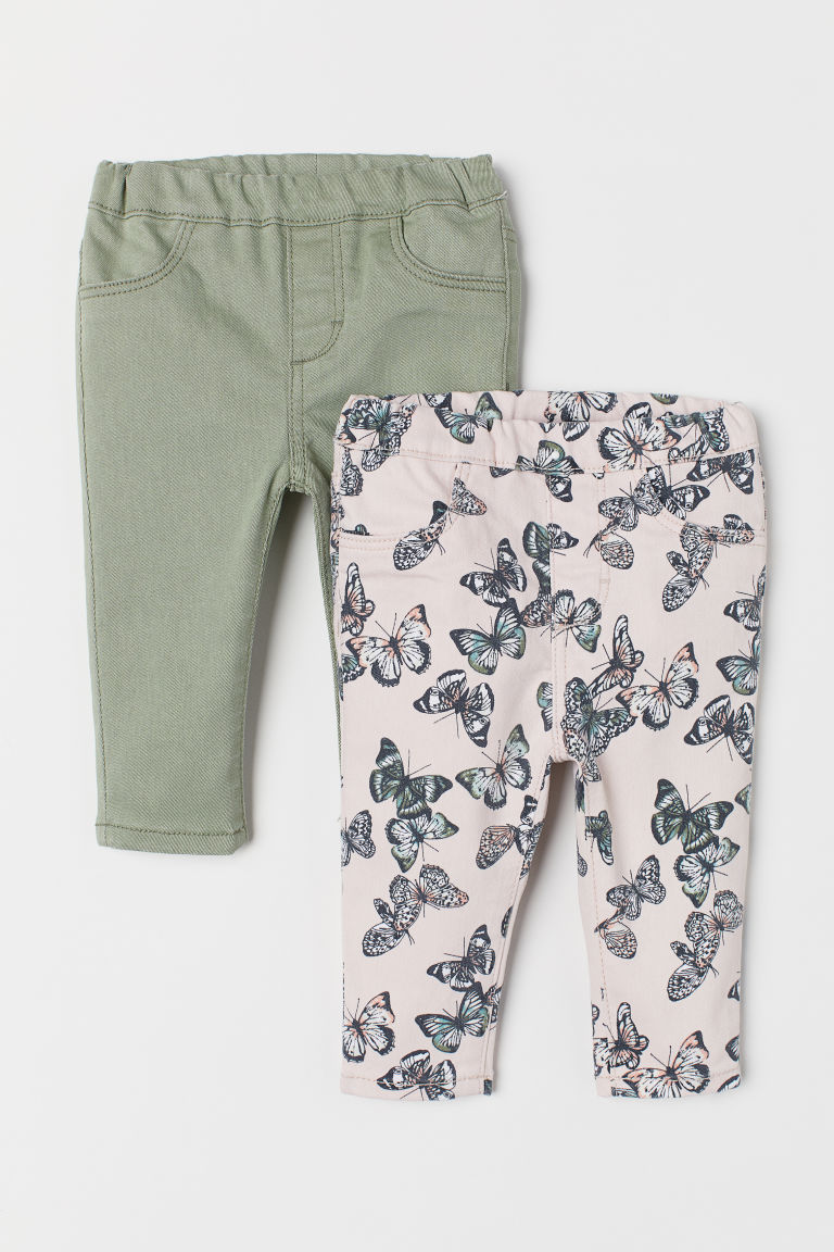 2-pack denim treggings - Green/Butterlies - Kids | H&M