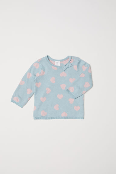 Fine-knit jumper - Light turquoise/Hearts - Kids | H&M