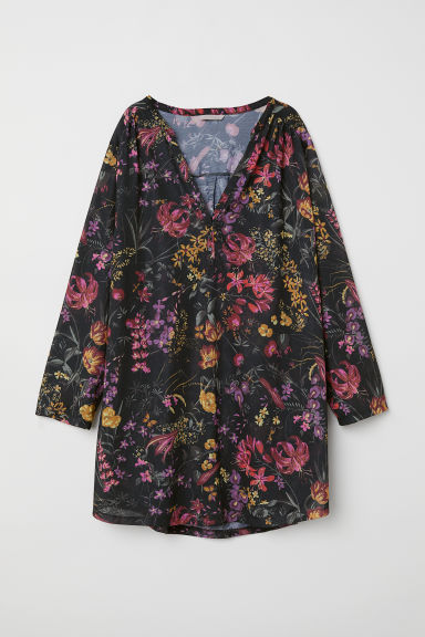 H&M+ Tunic - Black/Floral - Ladies | H&M