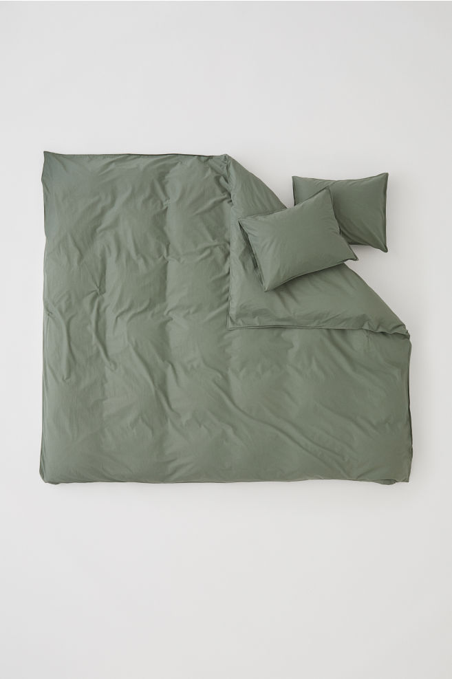 Washed Cotton Duvet Cover Set Khaki Green Home All Hm Us