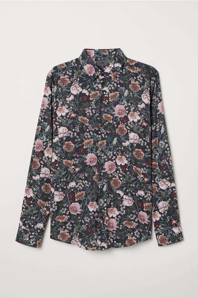 a5130699fed50 Slim Fit Patterned Shirt - Black/floral - Men   H&M ...