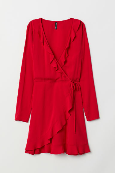 Wrap dress with flounces - Red -  | H&M CN