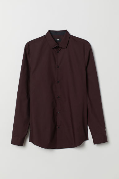 Cotton-blend Shirt Slim fit - Burgundy - Men | H&M US