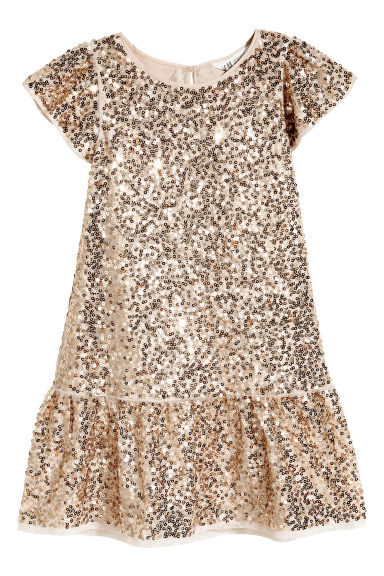 Sequined dress - Light beige -  | H&M