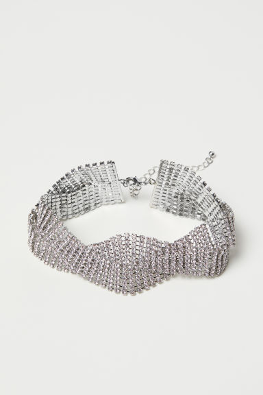 Short sparkly stone necklace - Silver-coloured - Ladies | H&M