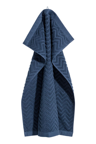 Jacquard-patterned hand towel - Dark blue - Home All | H&M CN