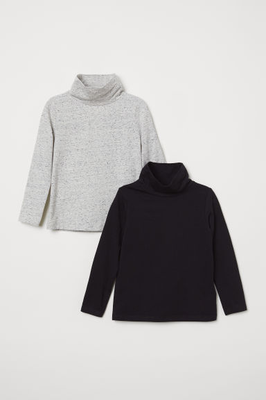 2-pack polo-neck tops - Light grey marl/Black - Kids | H&M CN