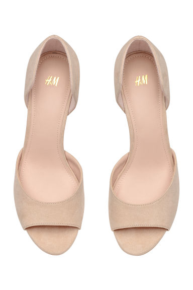 Peep-toe court shoes - Powder beige - Ladies | H&M CN