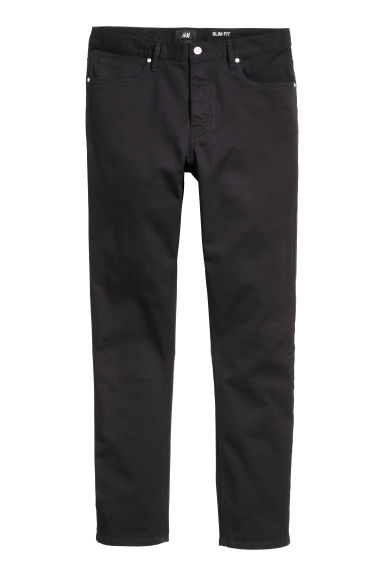 Twill trousers Slim fit - Black - Men | H&M