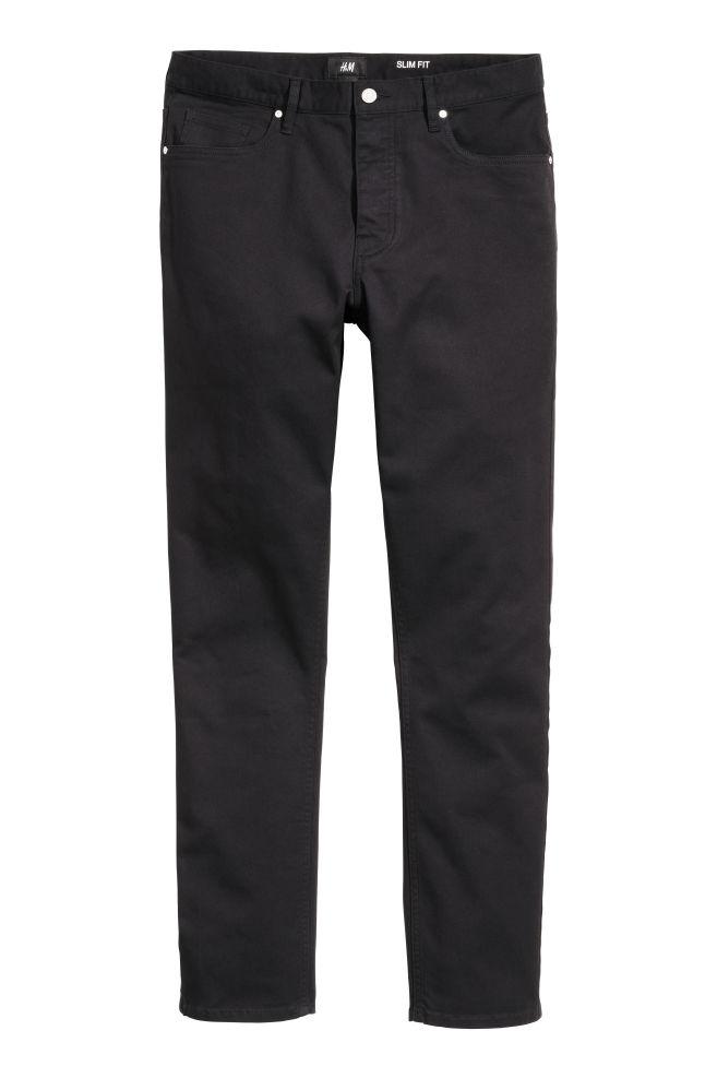 1db59070b1d Twill trousers Slim fit - Black - Men