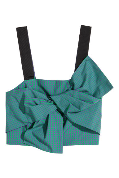 Bustier with a bow - Green/Purple checked -  | H&M