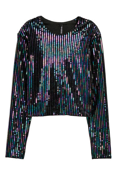 Sequined top - Black - Ladies | H&M