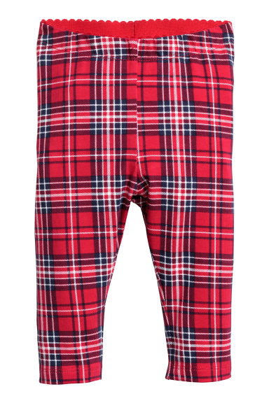 Jersey leggings - Red/Blue checked - Kids | H&M