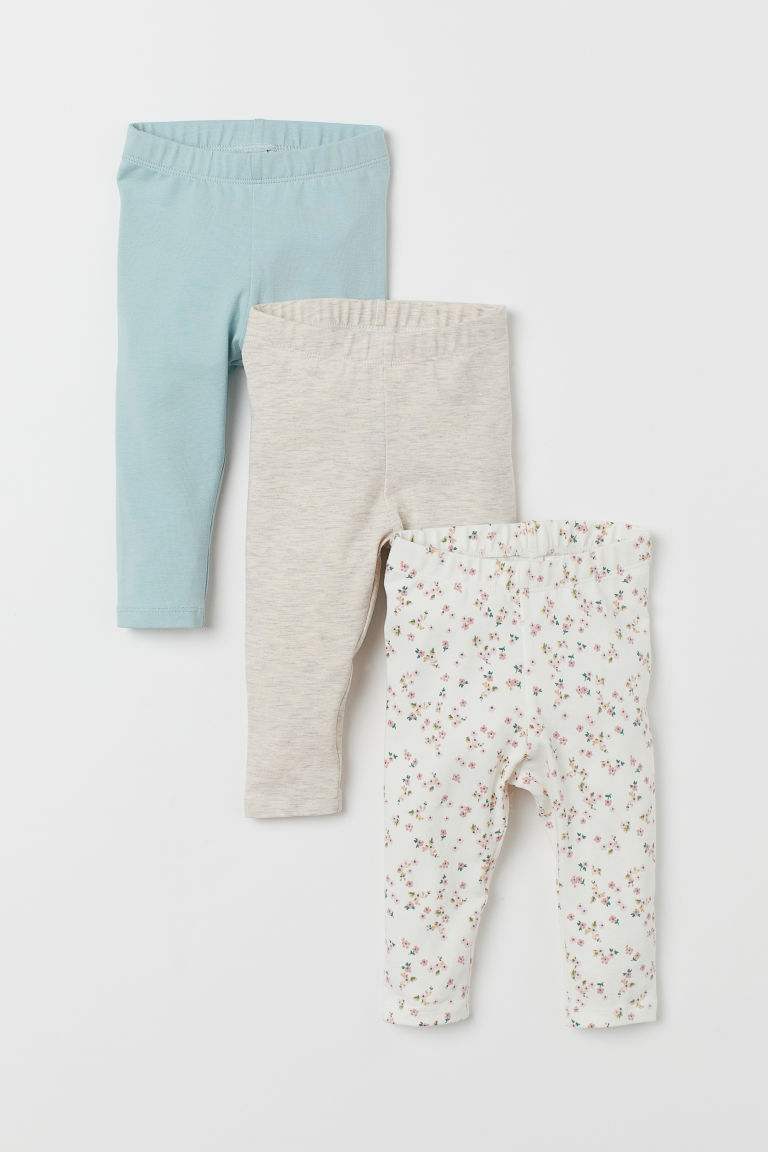 Leggings, lot de 3 - Blanc/fleuri - ENFANT | H&M BE