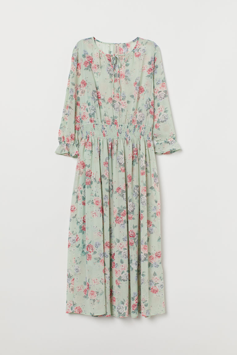 Patterned dress - Mint green/Floral -  | H&M IE