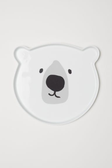 Plate with a motif - White/Polar bear - Home All | H&M CN