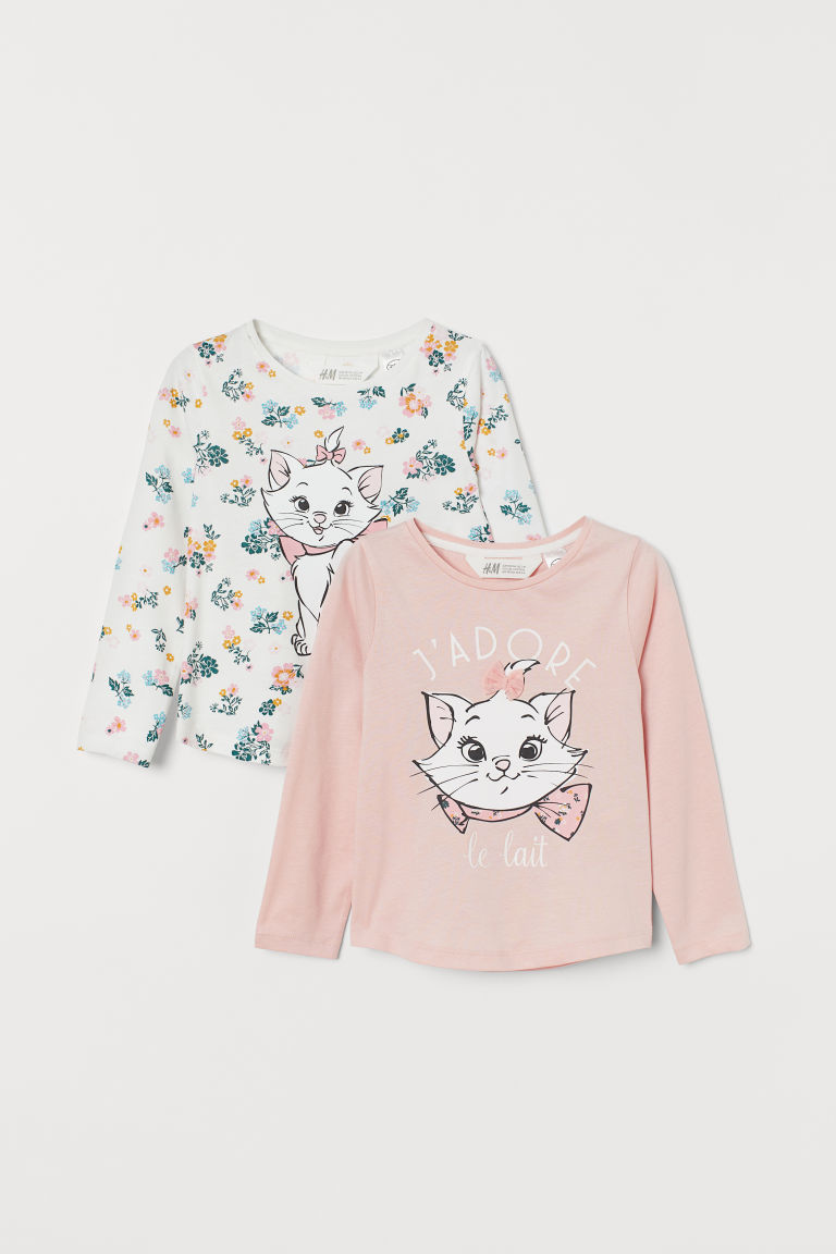 2-pack Printed Tops - Light pink/Aristocats - Kids | H&M US