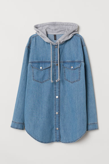 Camicia con cappuccio - Blu denim -  | H&M IT