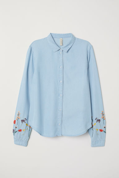 Lyocell denim shirt - Light denim blue/Flowers -  | H&M