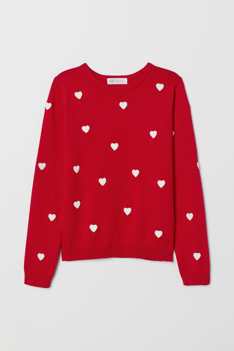 Knitted jumper with embroidery - Red/Hearts - Kids | H&M CN