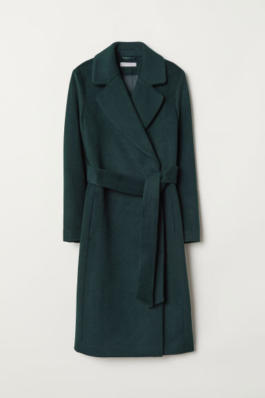Wool-blend coat - Dark green - Ladies | H&M CN
