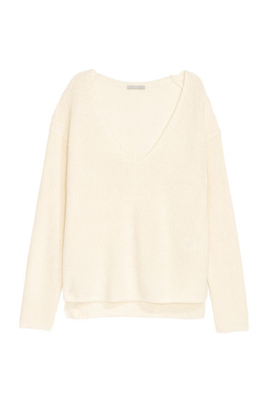 Knitted wool-blend jumper - White -  | H&M