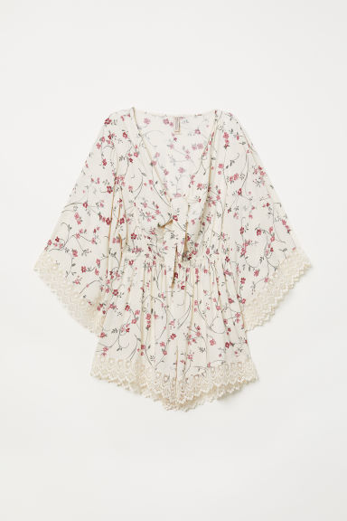 Playsuit with lace - Natural white/Floral - Ladies | H&M