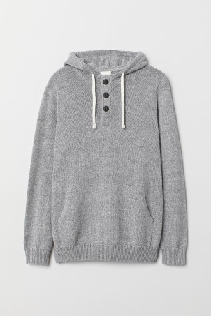 Hooded jumper with buttons