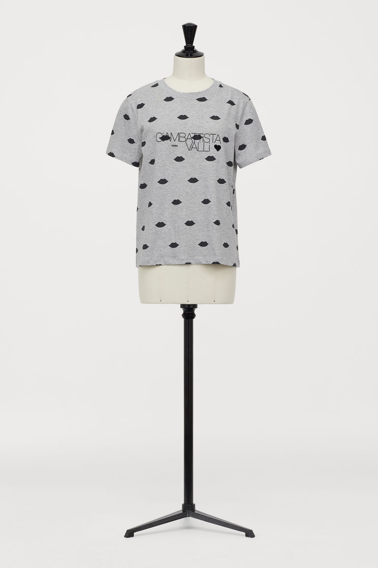T-shirt with a flock print - Light grey marl - Ladies | H&M