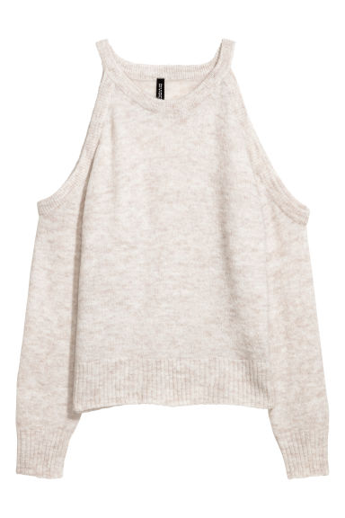Cold shoulder jumper - Light beige marl - Ladies | H&M