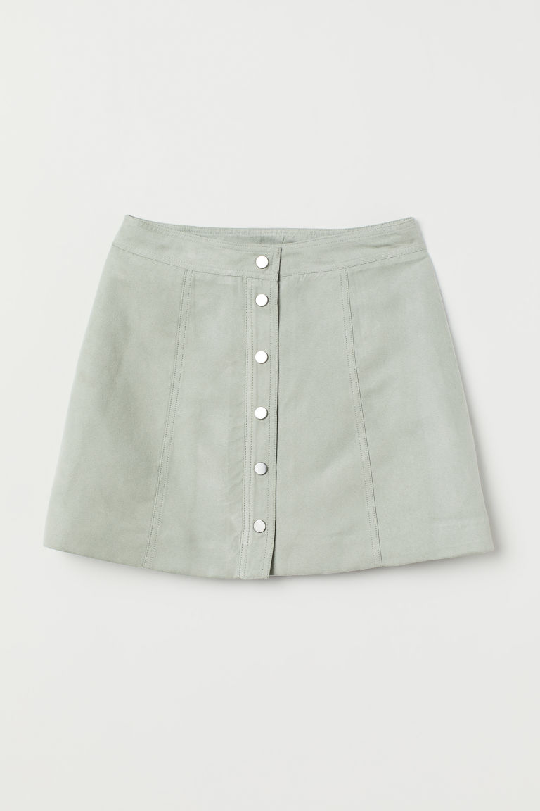 A-line Skirt - Dusky green/faux suede -  | H&M US